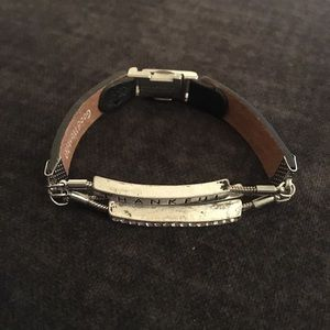 Jewelry - NWOT Thankful/Blessed Black Leather Bracelet